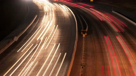 camionagem : Time Lapse of Traffic in Los Angeles at Night  - 4K -  4096x2304 Stock Footage