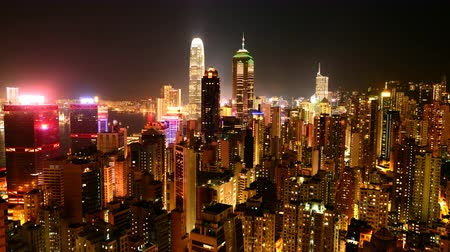 население : Time Lapse of Hong Kong Skyline and Victoria Harbour at Night - Hong Kong China