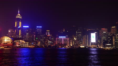 центральный : Time Lapse of Hong Kong Skyline Laser Show  Victoria Harbour at Night - Hong Kong China