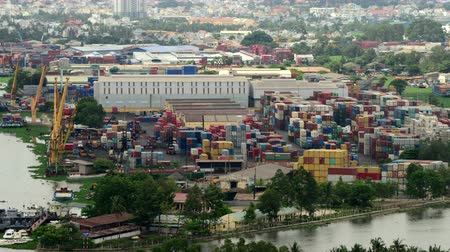 értékesítés : Time Lapse of Busy Shipping Container Port in Ho Chi Minh City Saigon Stock mozgókép