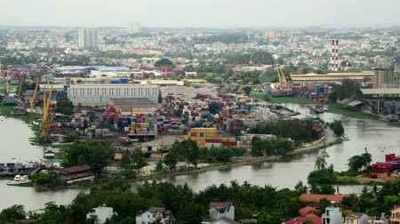 vietnamec : Time Lapse of Busy Shipping Container Port in Ho Chi Minh City Saigon Dostupné videozáznamy