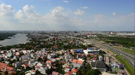 vietnamec : Time Lapse of Traffic and Clouds Passing over Ho Chi Minh City Saigon