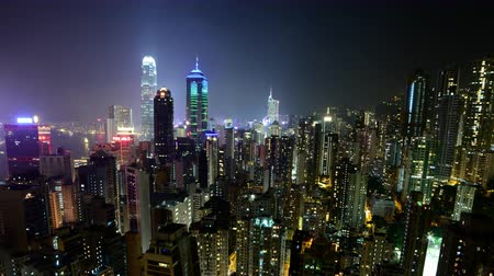 luci di neon : Time Lapse di Hong Kong Skyline e Victoria Harbour at Night - Hong Kong Cina
