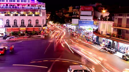 vietnamec : Time Lapse of Busy Downtown Traffic Circle at Night -  Hoan Kiem Lake  Hanoi Vietnam