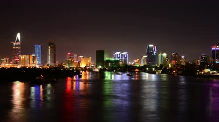 southeast : Time Lapse of Scenic Ho Chi Minh City Saigon Skyline at Night - Vietnam