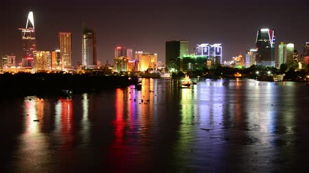 vietnamec : Time Lapse of Scenic Ho Chi Minh City Saigon Skyline at Night - Vietnam