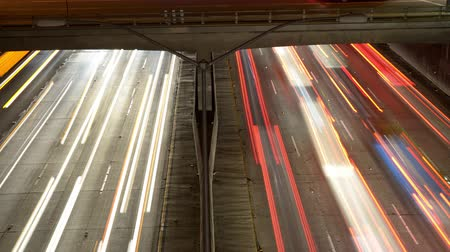 motor vehicle : Time Lapse Pan - Overhead View of Traffic on Busy 10 Freeway in Downtown Los Angeles California