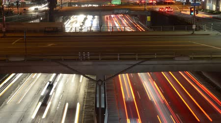 motor vehicle : Time Lapse  - Overhead View of Traffic on Busy 10 Freeway in Downtown Los Angeles California