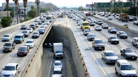 car traffic : Time Lapse of Traffic Jam in Downtown Los Angeles - 4K Stock Footage