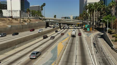 snelwegen : Bovenaanzicht van Verkeer op Busy 10 Freeway in Los Angeles California