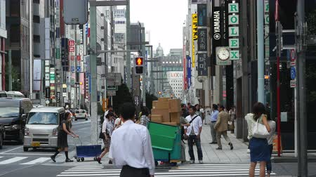 train workers : Time Lapse of Pedestrians in the Busy Ginza Shopping District  -  Tokyo Japan