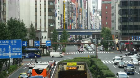 train workers : Time Lapse of Traffic and Pedestrians in the Busy Ginza Shopping District  -  Tokyo Japan