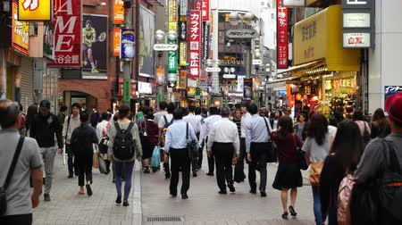 eatery : Pan Down of Busy Shibuya Shopping District Daytime    - Shibuya, Tokyo Japan Stock Footage