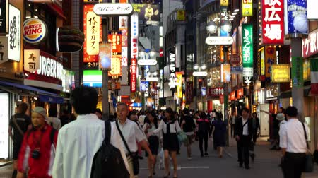japan : Pan Down of Busy Shibuya Shopping District Daytime    - Shibuya, Tokyo Japan Stock Footage