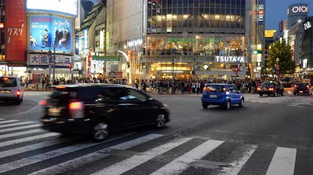 скрестив : Time Lapse of Busy Shibuya Scramble Crossing Evening  - Shibuya, Tokyo Japan