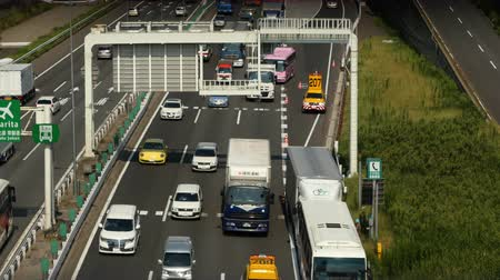 sadece : Heavy Truck Traffic on Japanese Highway -   Tokyo Japan Stok Video