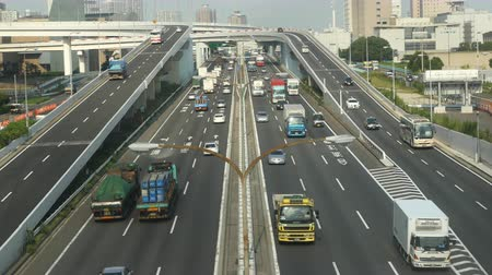 sadece : Time Lapse of Heavy Truck Traffic on Japanese Highway -   Tokyo Japan
