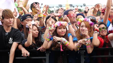 loud music : Large Crowd at Electronic Music Festival - Tokyo Japan