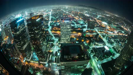 небоскреб : Time Lapse Overview of Los Angeles at Night - 4K - 4096x2304