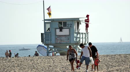 sunset sea : Life Guard Stand on Santa Monica Beach  - Los Angeles California