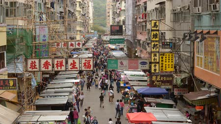 mongkok : Time Lapse of Busy Mong Kok Market in Hong Kong China