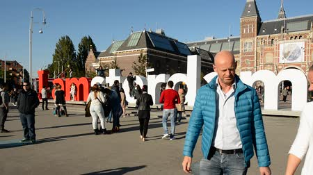 muzeum : Time Lapse - Amsterdam Sign & People - Rijksmuseum - Amsterdam Netherlands Wideo