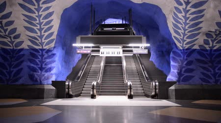 murals : Time Lapse Zoom of Entrance of Busy Subway Station-  Stockholm Sweden Stock Footage