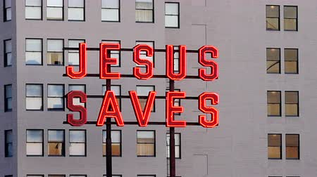 padre : Rooftop Neon Jesus Saves Sign - Los Angeles