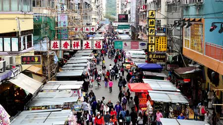 азиаты : Time Lapse of Busy Mong Kok Market in Hong Kong China