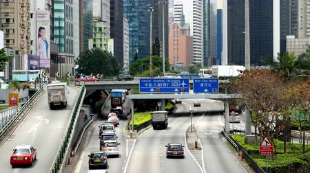 азиаты : Time Lapse  Zoom Busy Hong Kong Freeway Стоковые видеозаписи