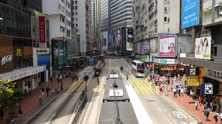азиаты : Time Lapse of Bus  Trolley Pedestrian Traffic in Central Hong Kong