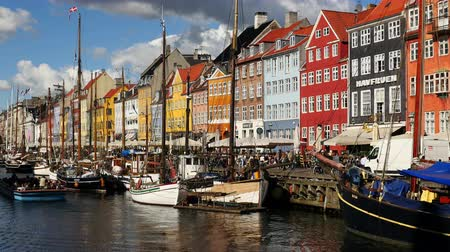 kodaň : Time Lapse of Scenic Nyhavn District Day  - Copenhagen Denmark Dostupné videozáznamy