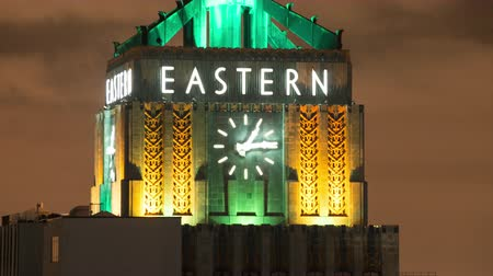 defunct : Time Lapse of the Eastern Clock Building at Night - Los Angeles