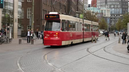Dutch Trams in Central Amsterdam Netherlands