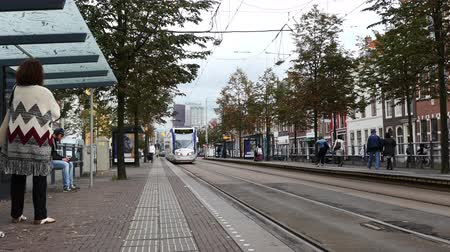 Time Lapse of Dutch Tram Pulling into Street Station -  Amsterdam Netherlands