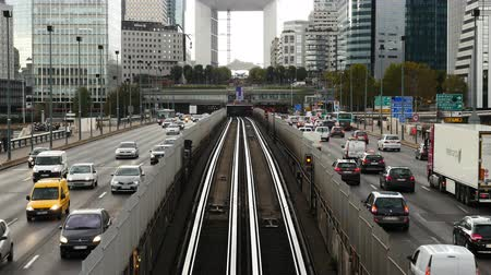 Time Lapse Zoom of Rail & Street Traffic at La Defense  - Paris France