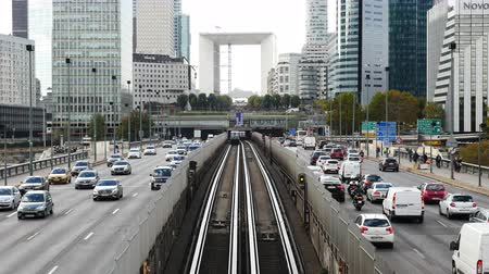 Time Lapse of Rail & Street Traffic à La Defense - Paris France