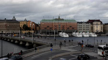 airial : Time Lapse of Busy Traffic Intersection in Stockholm Sweden