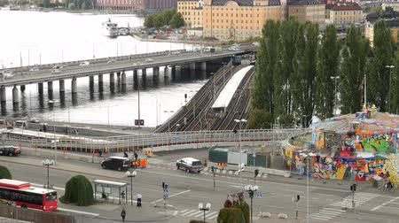 airial : Time Lapse of Traffic in Downtown Stockholm - Sweden