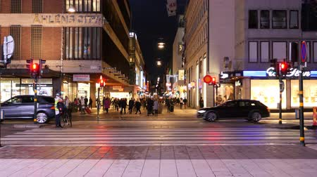 airial : Time Lapse of Traffic in Downtown Stockholm at Night - Sweden Stock Footage