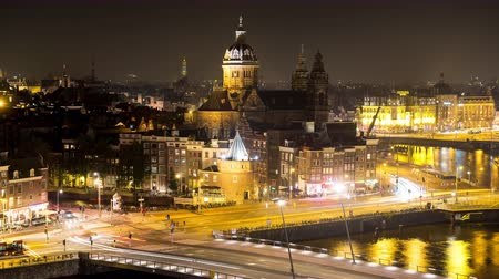 Time Lapse of Traffic in Central Amsterdam Netherlands Night