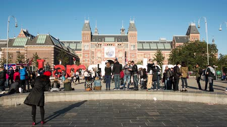 Time Lapse - Amsterdam Sign & People - Rijksmuseum - Amsterdam Netherlands Wideo
