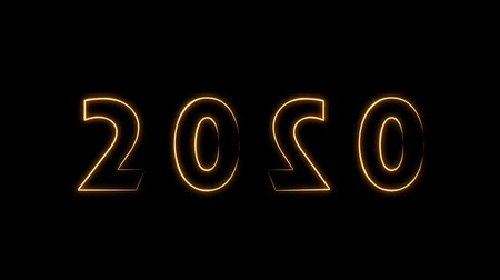 Happy New Year 2020 text design with rotating orange light on black background, new year concept design Stok Video