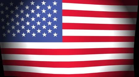 Animation of national flag United States of America flag slow waving on black backgound, flat style