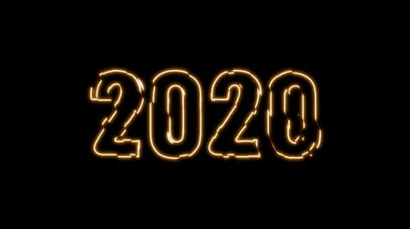 Happy New Year 2020 text design with gold light blinking on black background, new year concept design