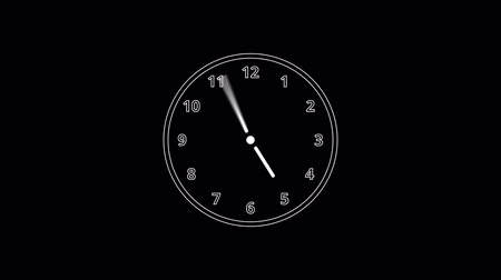 cronômetro : Animation of white clock counting down 12 hour day fast speed on black backdrop
