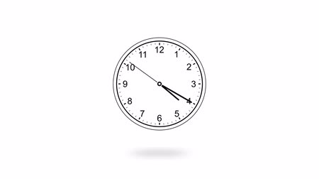 cronômetro : Animation of black clock counting down 12 hour day fast speed on white backdrop, flat style Stock Footage