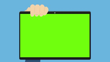 Front view of animation businessman are touch computer screen with finger tip, flat style Stok Video