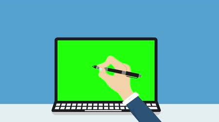Animation of businessmen are writing goals with pens, Business breakthrough success concept, flat style