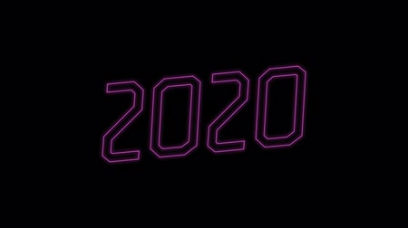 fluorescent : Happy New Year 2020 neon sign with pink light blinking on black background, new year concept design Stock Footage
